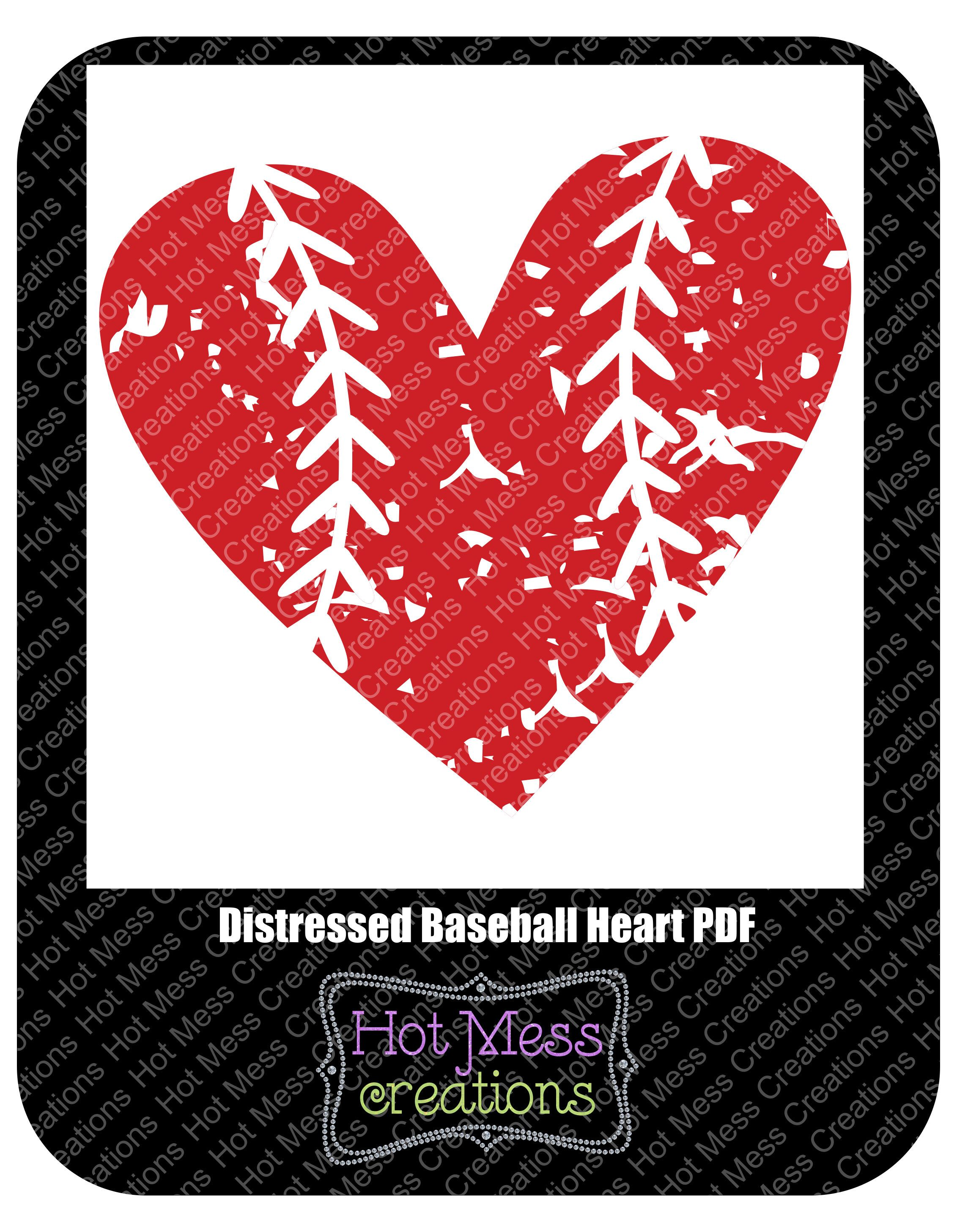 Download Distressed Baseball Heart SVG DXF PNG - Baseball Heart ...