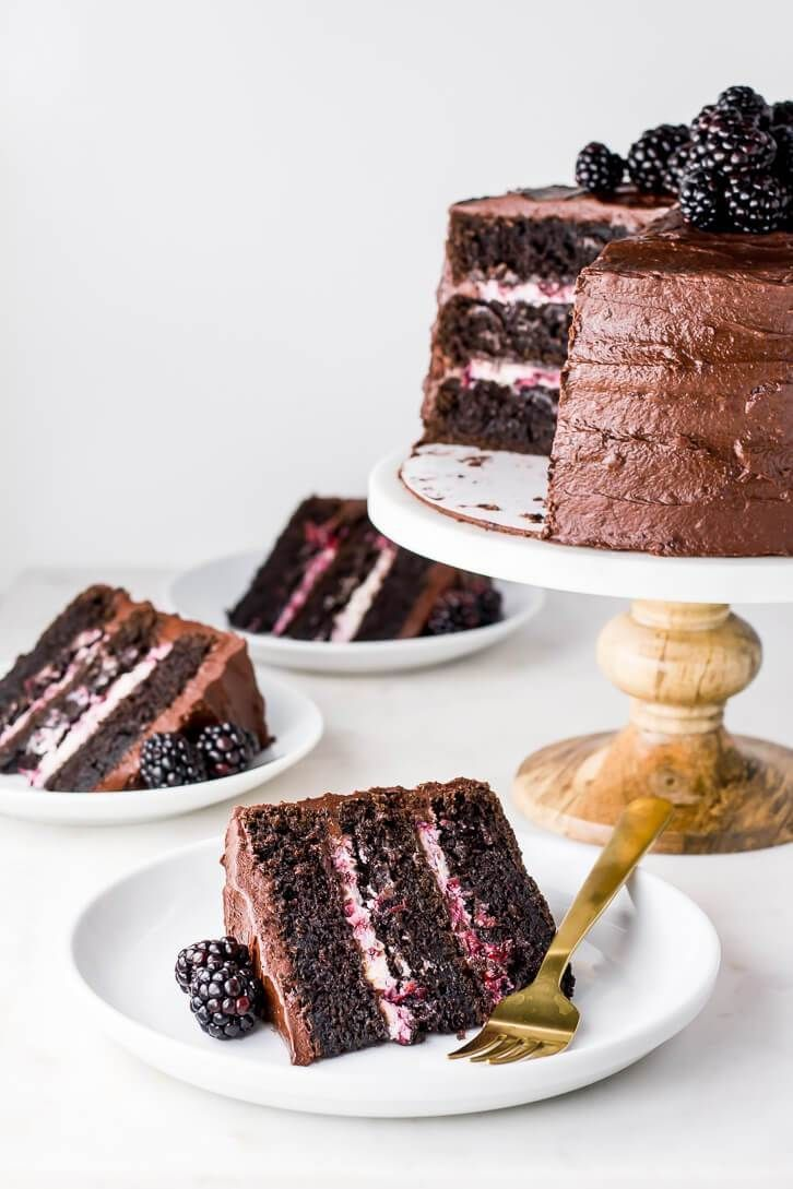 Blackberry Chocolate Cake + Blackberry Mascarpone Filling | Flour Covered Apron