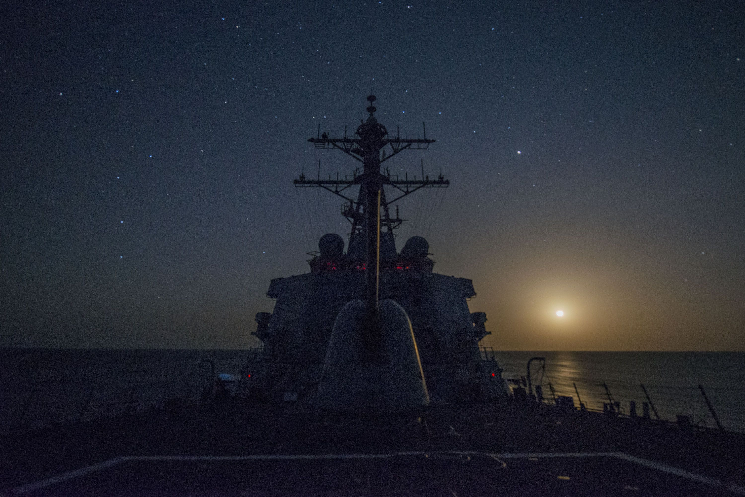 INDIAN OCEAN (Jan. 30, 2016) Guided-missile destroyer USS Gonzalez (DDG 66) transits the Indian Ocean. Gonzalez is deployed as part of the Harry S. Truman Carrier Strike Group, supporting maritime security operations and theater security cooperation efforts in the U.S. 5th Fleet area of operations. (U.S. Navy photo by Mass Communication Specialist 3rd Class Pasquale Sena/Released)