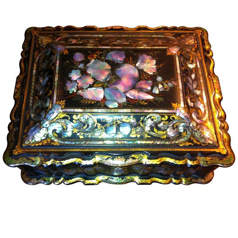 Papier Mache' Magnificent 19th cent Sewing box european !860's Magnificent Papier-Mache'English sewing box