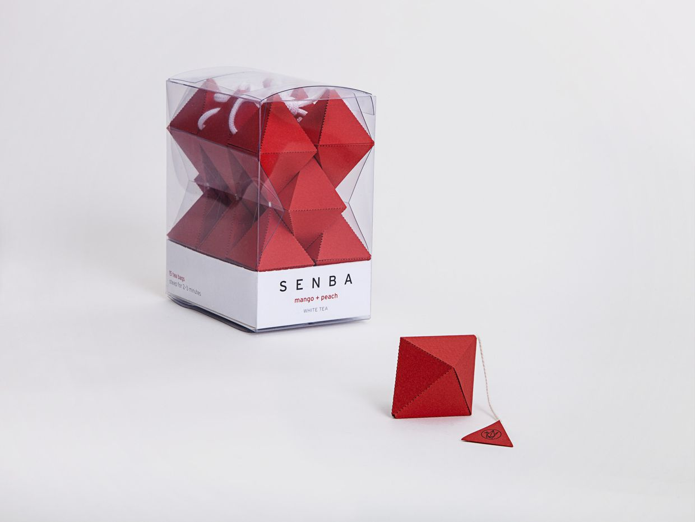 Packaging design for 'Senba Tea' pyramid tea bags by Seita Goto