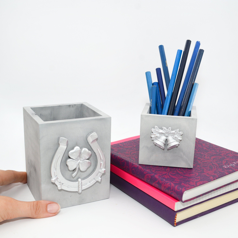 Marble pencil holder for desk, Concrete Bookends horseshoe