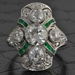 Art+Deco+Diamond+and+Emerald+Dinner+Ring+$18,999.00