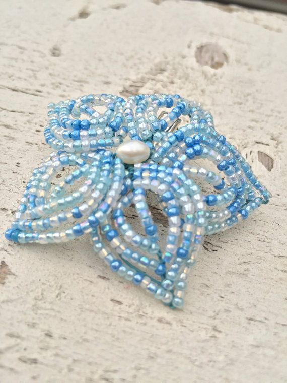 Baby Blue Beaded Flower Hair Clip sky blue beaded by MorninGlorias