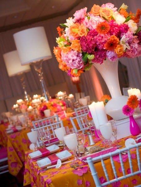 Pink and Orange Wedding Ideas   Wedding Table Decoration. http ...