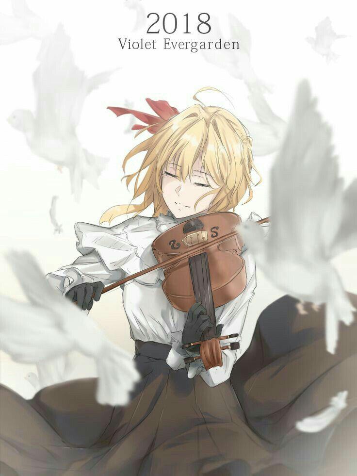 楽器を演奏するヴァイオレット・エヴァーガーデン