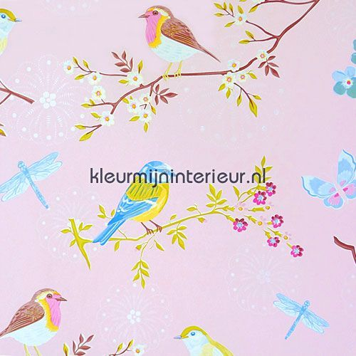Pip early bird pink PiP studio wallpaper fotobehang
