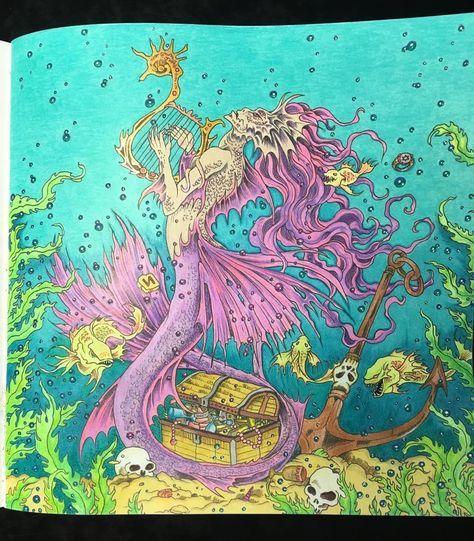 The Siren in Mythomorphia by Kerby Rosanes. Prismacolor and detailed with gel pens. Neons and glitter do not show up well onscreen. #Mythomorphia #kerby Rosanes #coloring #adult coloring #Prismacolor #gel pens