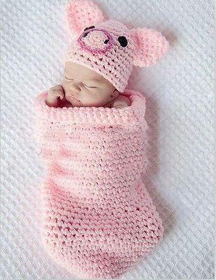 b516755d51e Newborn Pig Piggy Baby Infant Knit Sweater Crochet Photography Prop costume  L45