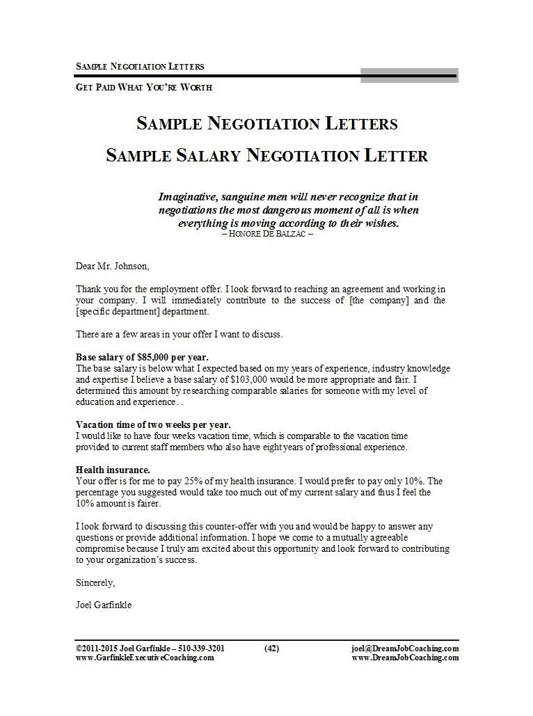 Job Offer Negotiation Letter Sample Salary Negotiation Letter Letter Sample Lettering
