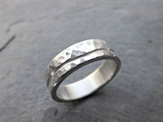 rustic wave ring silver ocean silver ring unique wedding band men silver wedding ring hammered ring silver cool mens ring wide - Mens Silver Wedding Rings