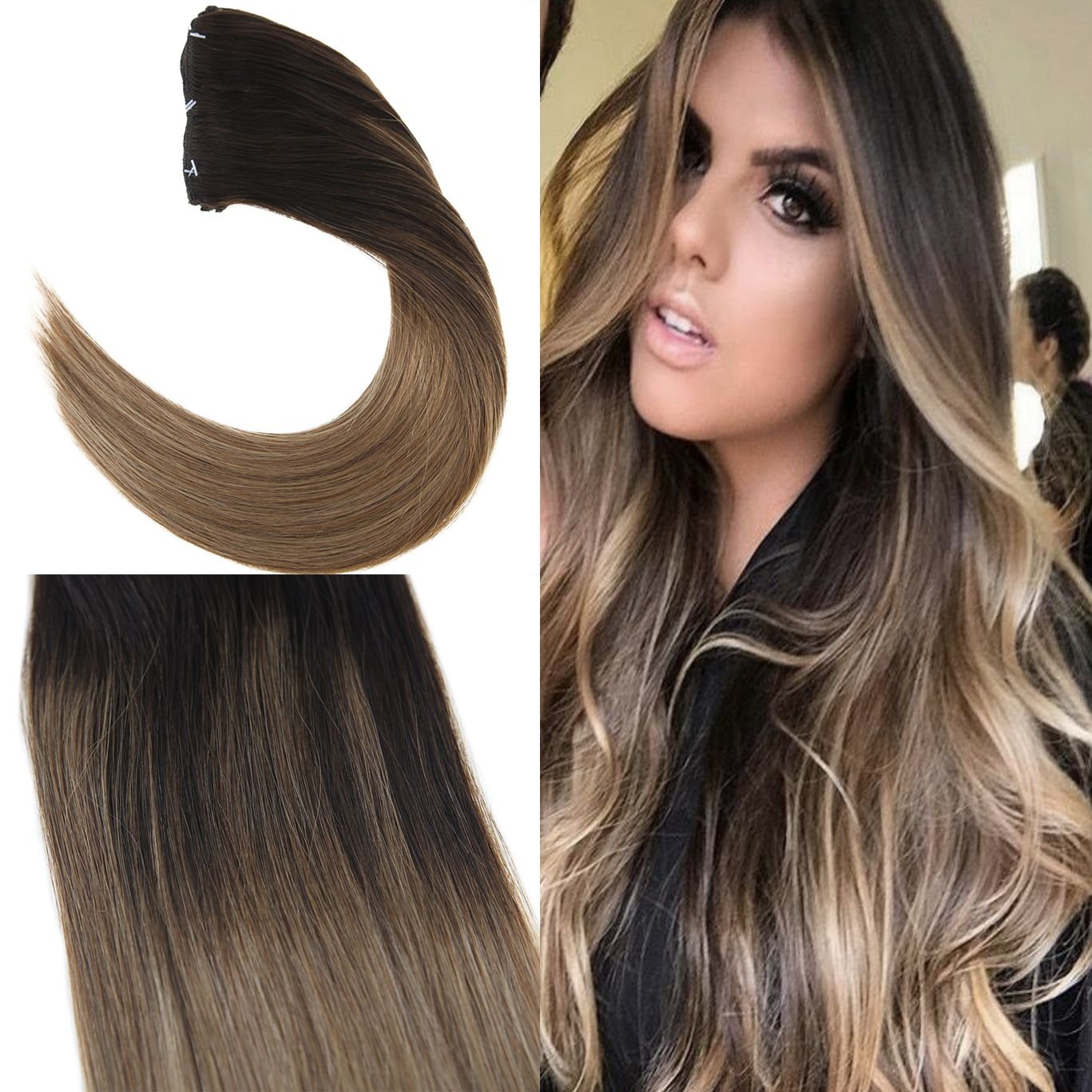 Full head clip in human hair extensions  Youngsee Ombre Clip in Real Remy  Soft Hair 88f94e5574