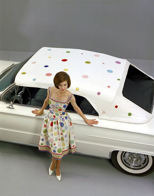 Colorful Convertible Tops for 1961 Buick Electra 225 vintage fashion style color photo print ad multi color polka dot print dress red white yellow blue rainbow full skirt sundress dress day 60s
