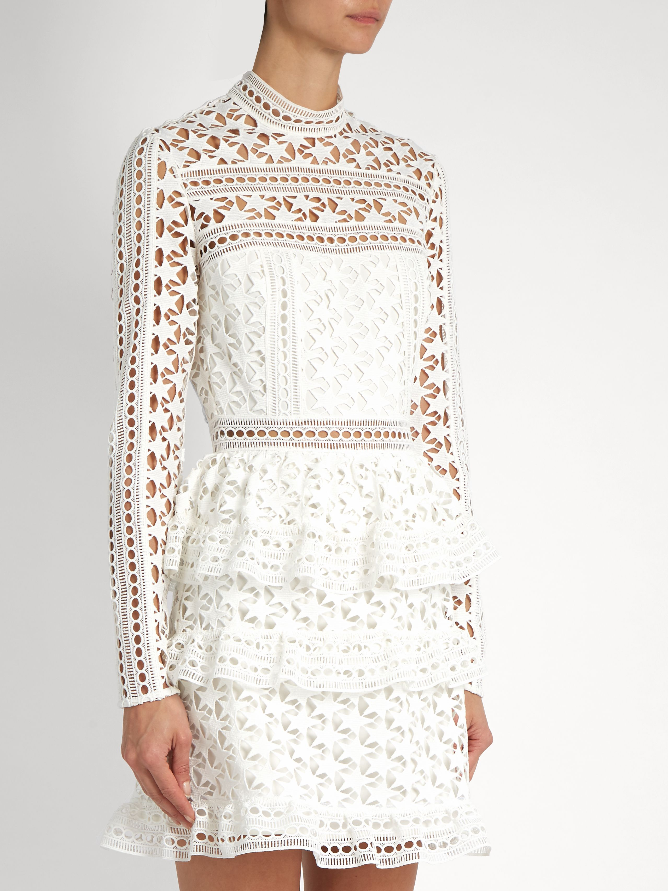 295016068897e Click here to buy Self-portrait High-neck star-lace tiered mini dress at  MATCHESFASHION.COM