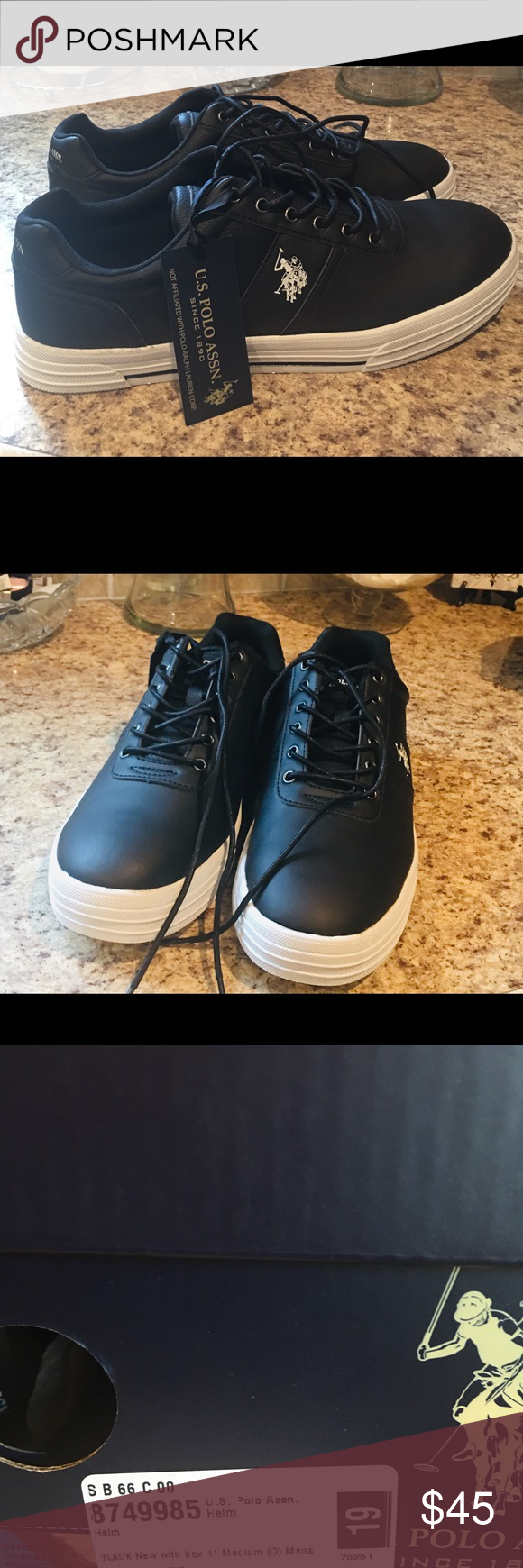 Polo Assn.Mens Black Leather Boat Shoes
