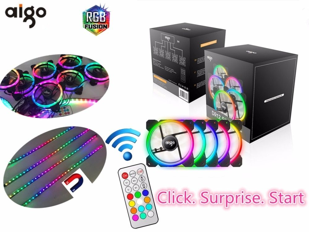 Aigo Dr12 Computer Case Pc Cooling Fan Light Bar Rgb Adjust Led