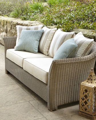 Love this palette. Plain base cushions, stripey back and tubular duck egg at the sides.  But on black frame sofa?