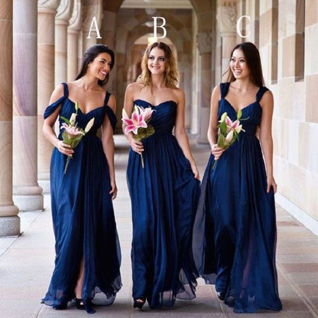 Mismatched A-line Sweetheart Neck Strapless Ruched Embellished Floor-length  Dark Royal Blue Chiffon Bridesmaid Dresses 1b7022311ae3