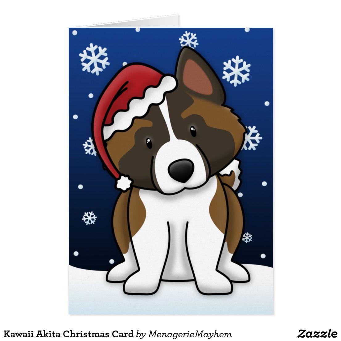 Kawaii Akita Weihnachtskarte Feiertagskarte  Zazzle.de  Akita