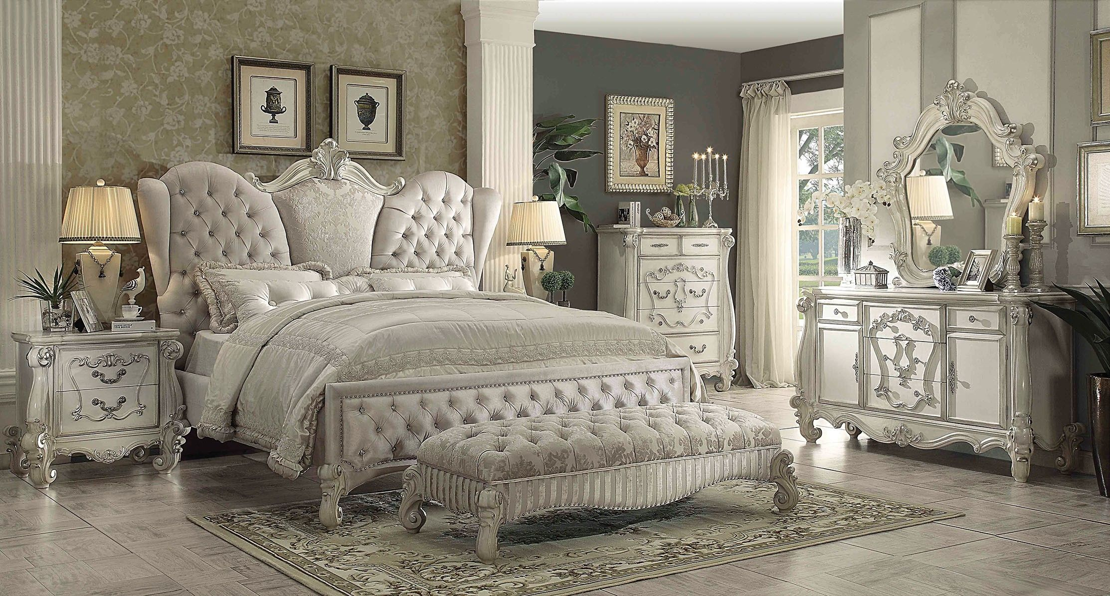 acme versailles 4-piece upholstered bedroom set in ivory velvet