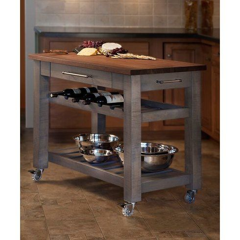 Metro Mobile Kitchen Island with Solid Walnut Top Kitchen