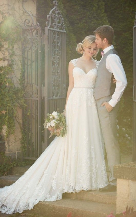 This gorgeous lace over matte-side Lustre satin A-line wedding gown ...