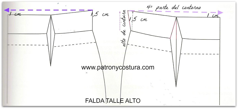 falda de talle alto | Moldes De Falda | Sewing, Couture y Pattern