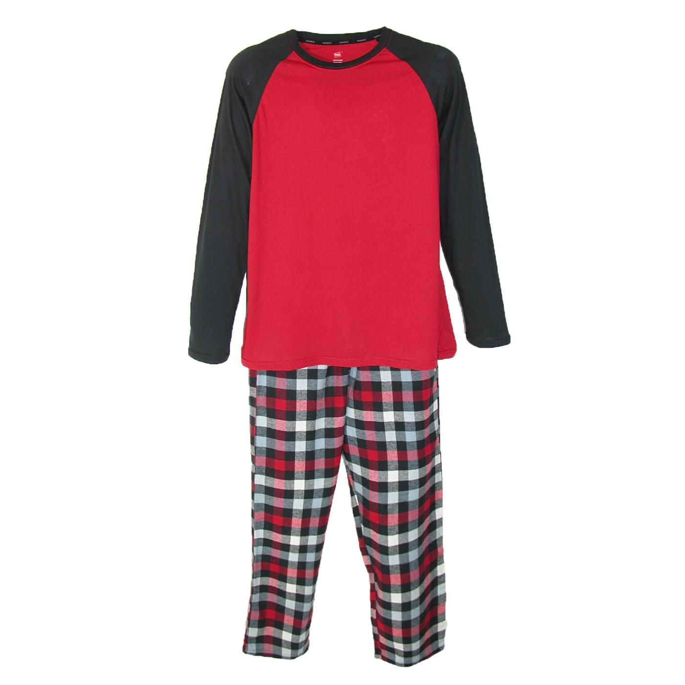 Cotton Jersey & Flannel Sleep Set by Hanes. This incredibly soft and comfy sleep set is perfect for a warm comfortable nights sleep. Also, great as lounge wear on weekends or days off when you just want to relax and be comfortable. The flannel pajama bottoms come in a plaid pattern and the coordinating solid color top has a crew neck. The sleep set is made of 100% soft cotton. The pants have a covered elastic waist band for added comfort and side pockets for convenience.
