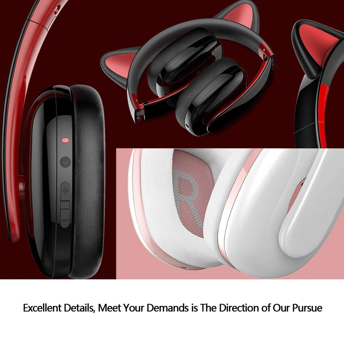 1f061484369 ... Headphone Creative Cat Ear Stereo Over-ear Game Gaming Bass Headset  Noise Canceling Headband Earphone with MIC Rechargeable Port for Bluetooth  4.0 ...