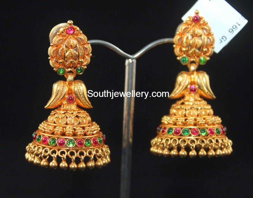 Antique_gold_jhumkisg Antique Earringsgold Earringscarat