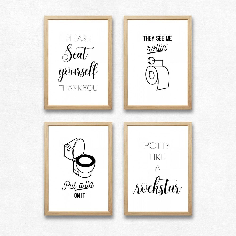 Funny bathroom signs canvas posters and prints bathroom