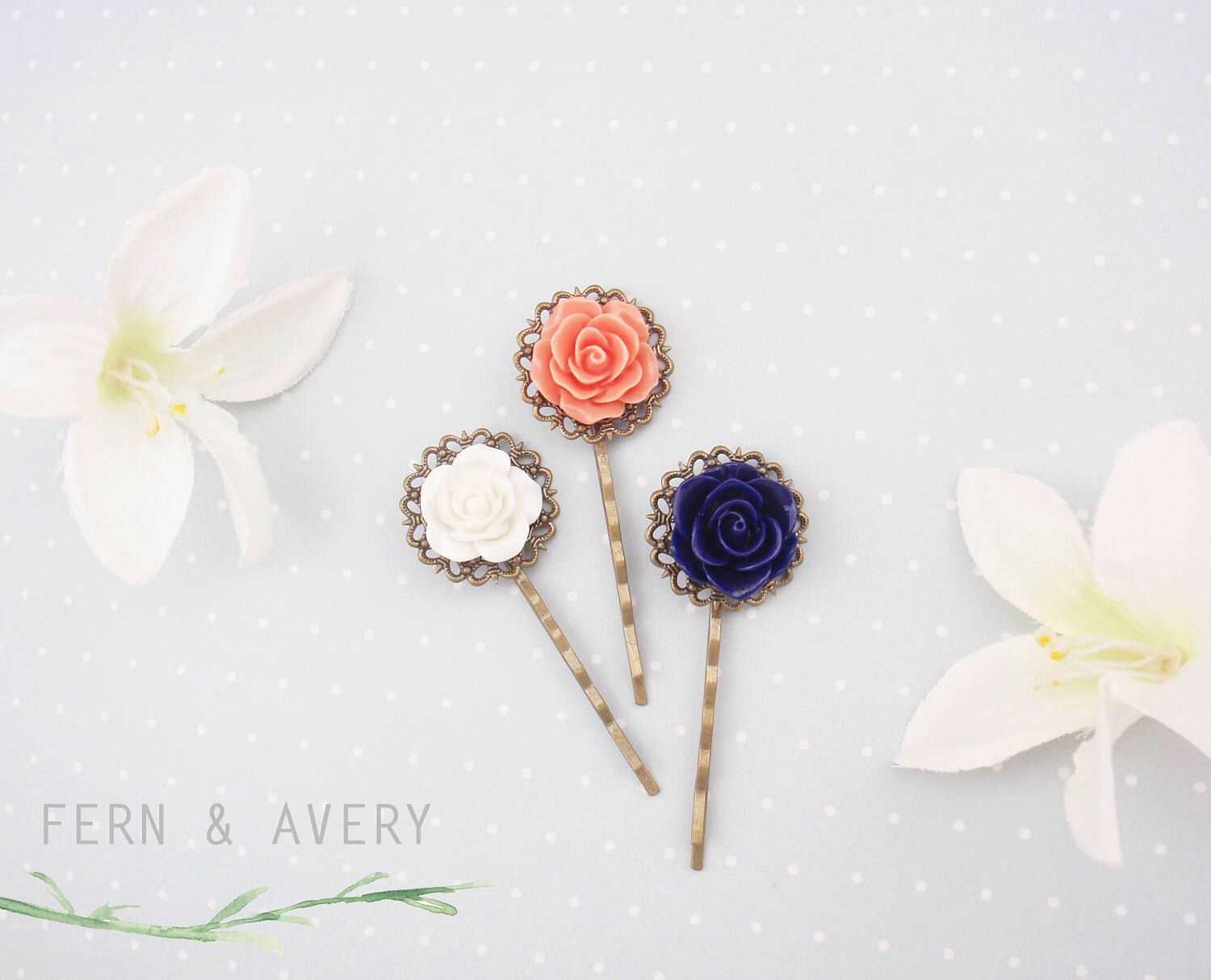 Navy Blue Coral Pink And White Flower Hair Pins Set Of 3 Bobby