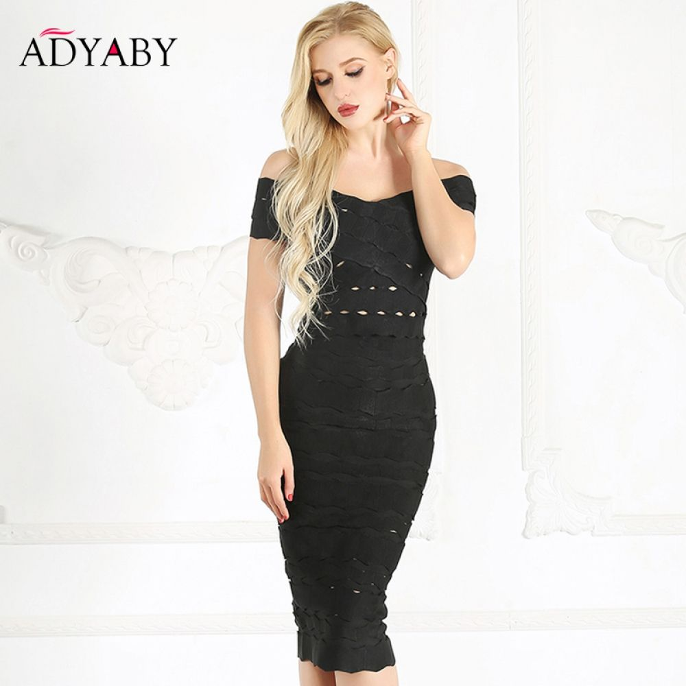b67cd7805ab White Black Dress Midi Summer 2018 Off Shoulder Bandage Dress Bodycon  Hollow Out Sexy Party Women Pencil Dresses 2 Piece Set Price  71.95   FREE  Shipping   ...