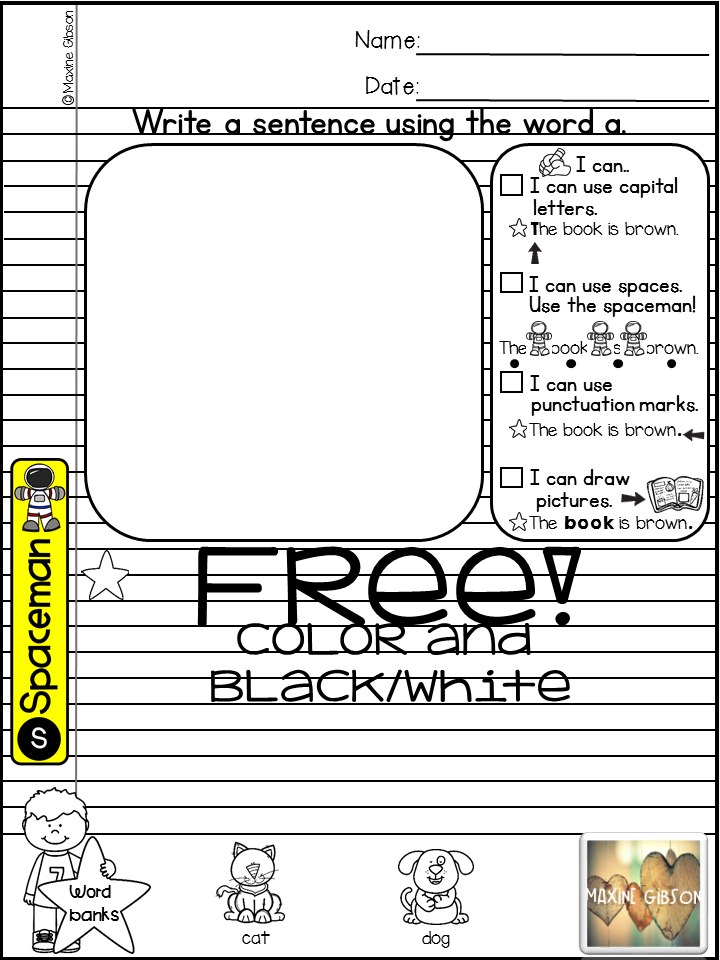 Free Sample Sight Word Notebook Writing Prompts Pre-Primer | TpT ...