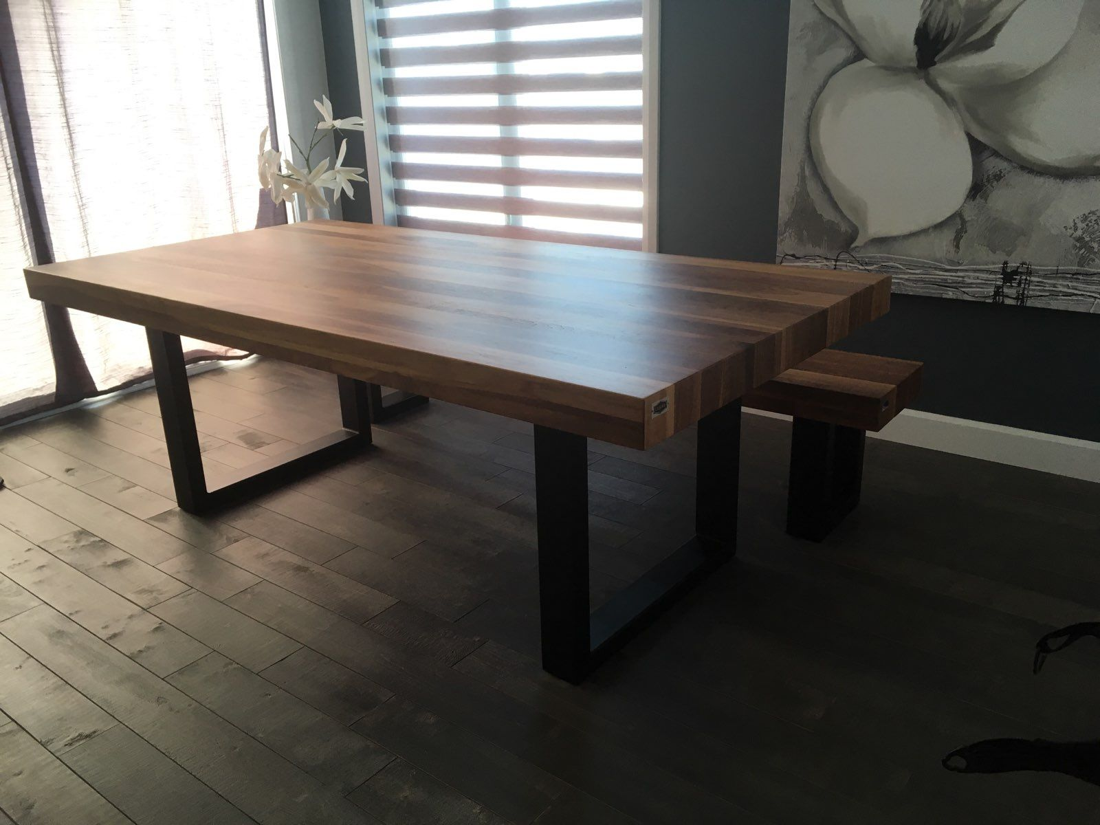Table St Irenee Noyer Naturelle Grande A 84 X 42 3 12 Epais Banc Surmesure Lusine Stirenee Banc Noyer Naturel Tab Table Lusine Bancs