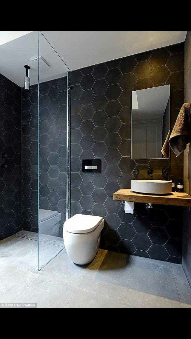 I love these hexagon tiles cuisine pinterest salle for Revetement mural sdb