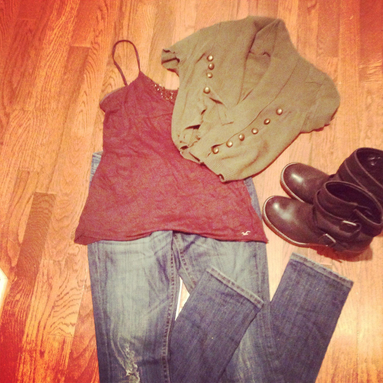 Army green jacket- skinny jeans- Hollister cami- Steve ...