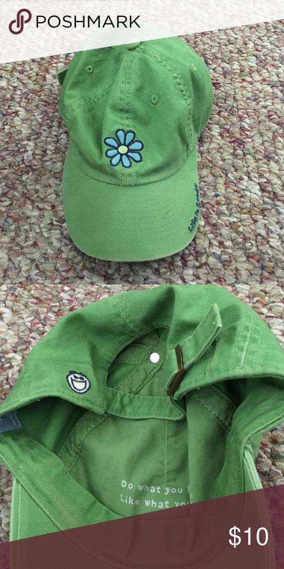 Life is Good Daisy Flower Cap Green Cute nature baseball cap