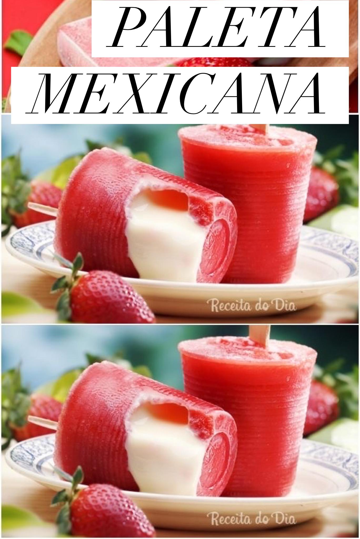 A paleta mais famosa é a de morango com leite condensado. Por isso selecionamos essa receita para você. #paletas #mexicanrecipes #Mexican #picolé #gelado #morango #recipe #receitas #receitadodia