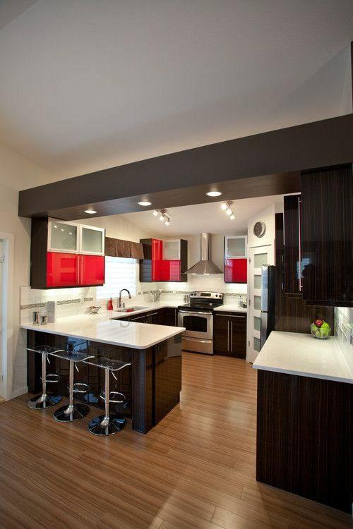U form küche schranksystem in weiß und rot hochglanz