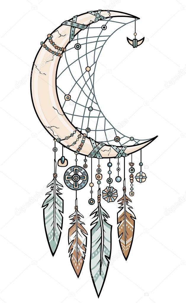 Descargar - Talismán de indio americano nativo Atrapasueños con plumas. Cuerno mágico una media luna. Diseño étnico, boho chic, tribal símbolo. Ilustración de vectores aislado sobre fondo blanco — Ilustración de Stock
