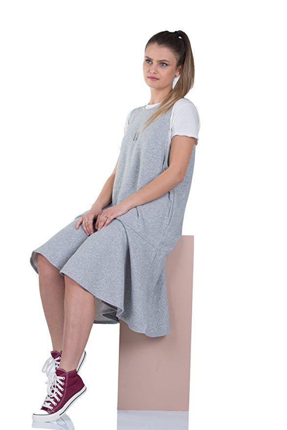 583c4306c5294 Simply Love 'Good Day' Dress Crew Neck Sleeveless Striped Loose T-Shirt Maxi  Dress Blue Loose Casual Cotton Black Grey Women (Black) at Amazon Women's  ...
