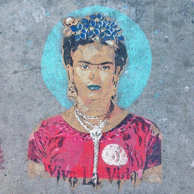 Frida Kahlo. Seen in the Mission in San Francisco. #frida #sidewalkart #streetart #urbanart #sf #mission