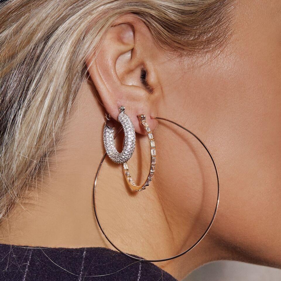 1bfa04f4d Pave Baby Amalfi Hoops- Silver | BLING BLING | Earrings, Gold, Luv aj