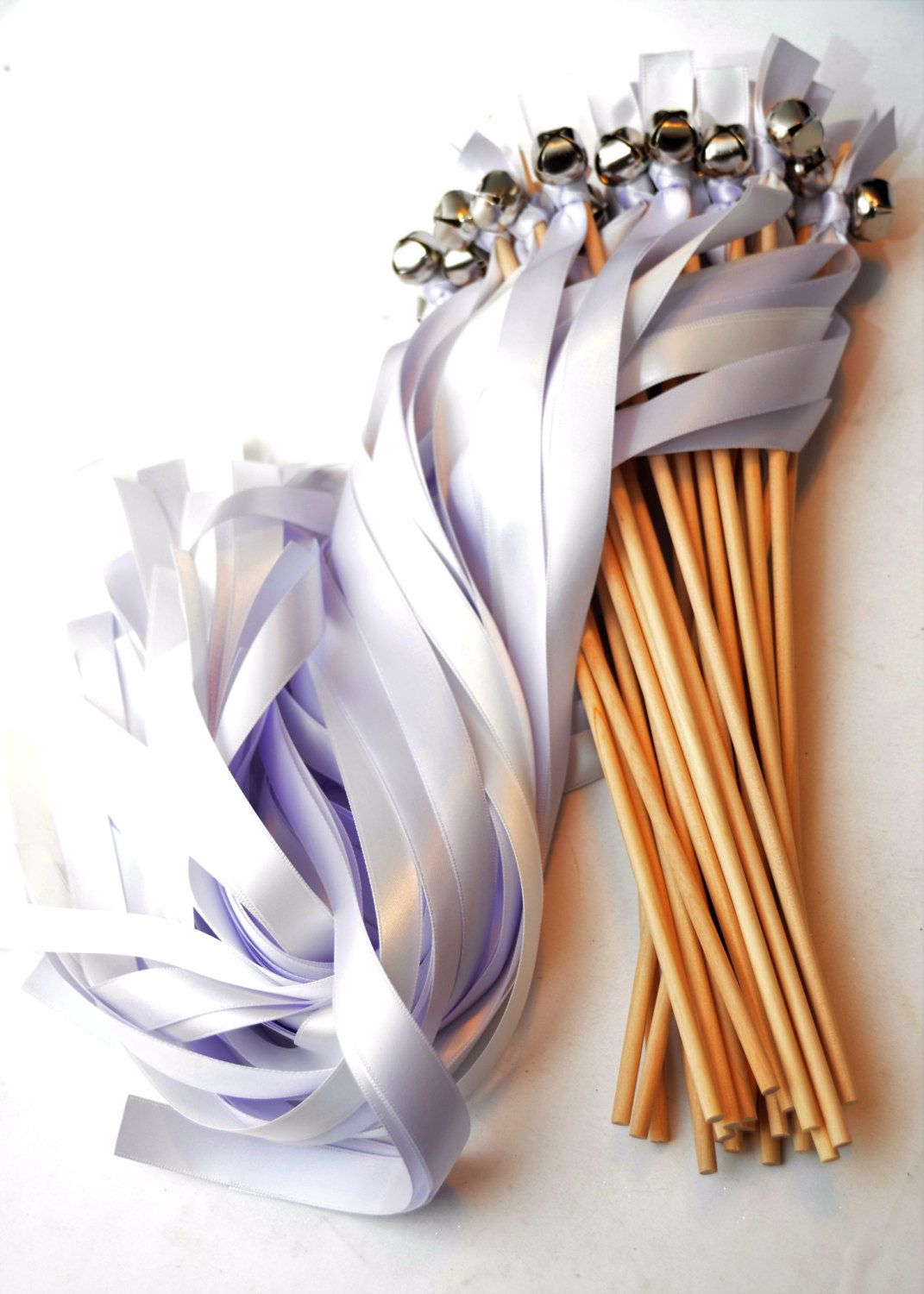 50 Ribbon Wedding Bell Wands ~ Choose your colors~ Bell Wands ...