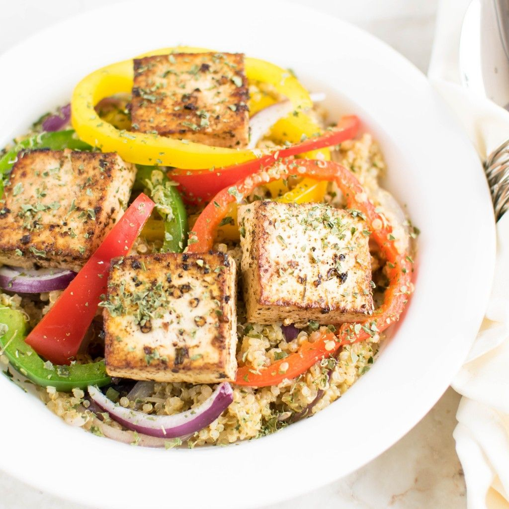 Red Wine Vinegar Tofu With Quinoa 30 Minutes Vegan And Gluten Free Dish Flavored With Italian Seasoni Whole Food Recipes Ways To Cook Tofu Vegetarian Recipes