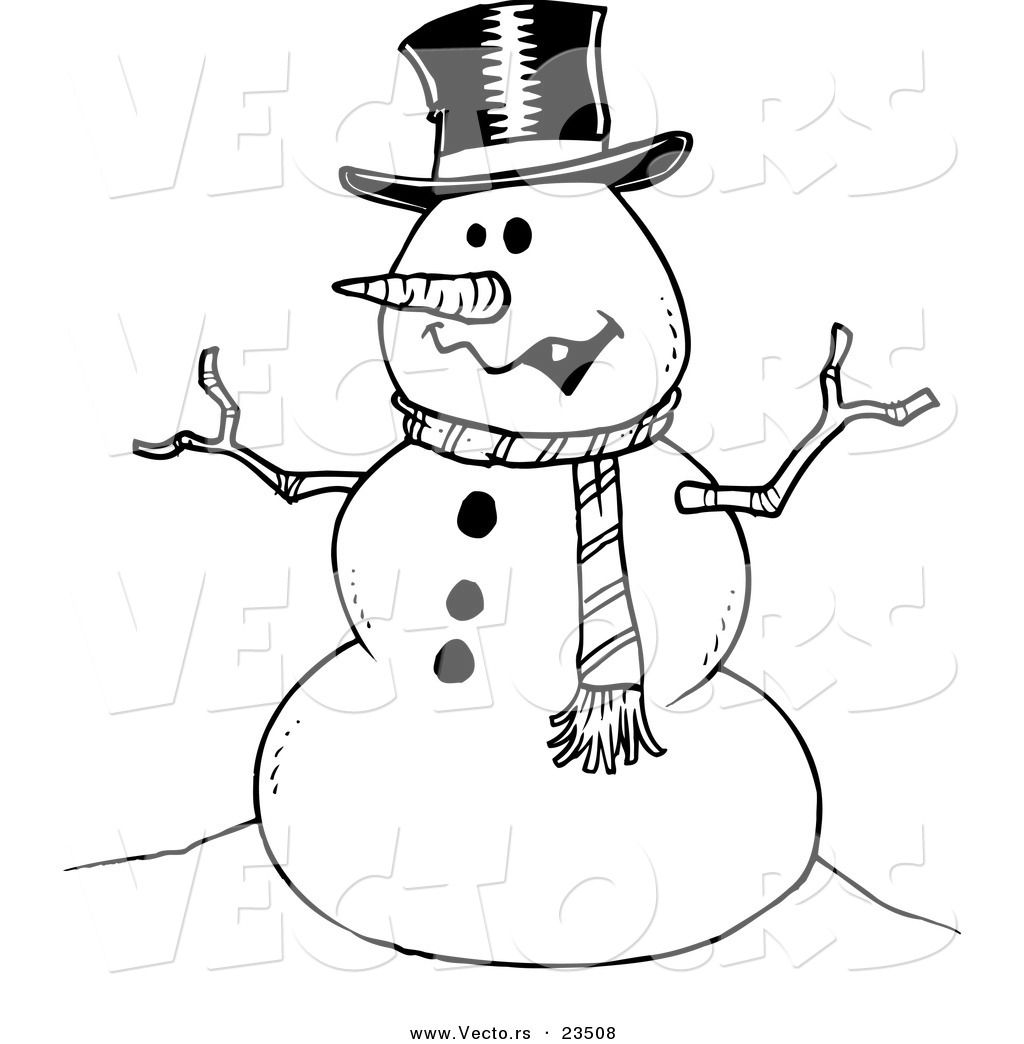 Coloring Christmas Card With Snowman Stock Vector: Snowman Coloring Pages, Black And