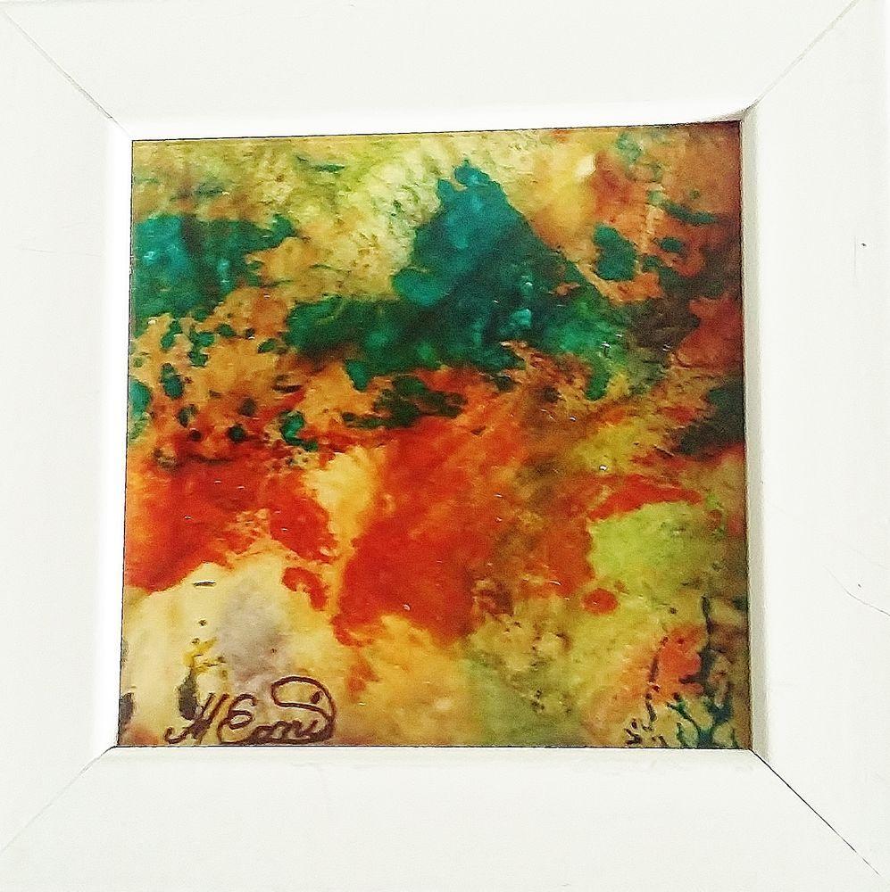 tableau abstrait peinture vitrail encadr sous verre l 39 automne m conil peintures acryliques. Black Bedroom Furniture Sets. Home Design Ideas