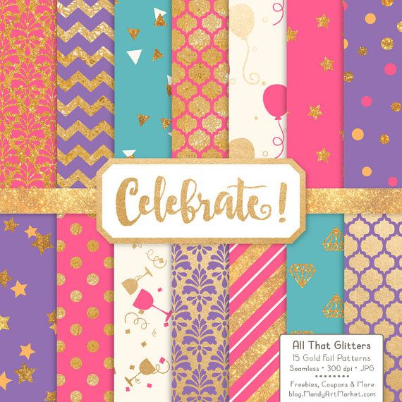 Celebrate Gold Foil Digital Papers in Crayon Box by AmandaIlkov
