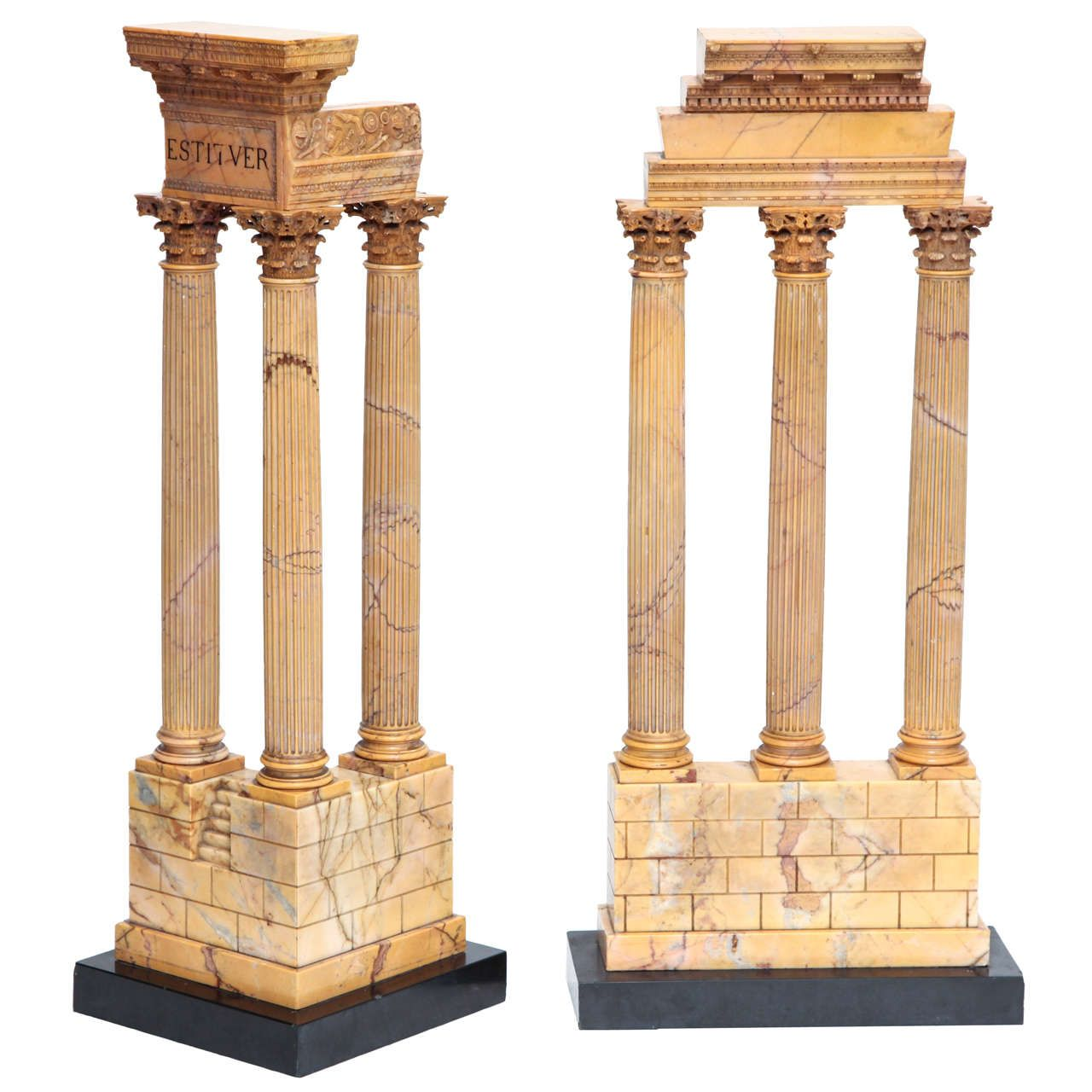 Two Giant Size Grand Tour Sienna Marble Ruins Antique Sculpture Grand Tour Sculptures For Sale